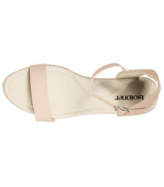 Sandales compensées femme Rose