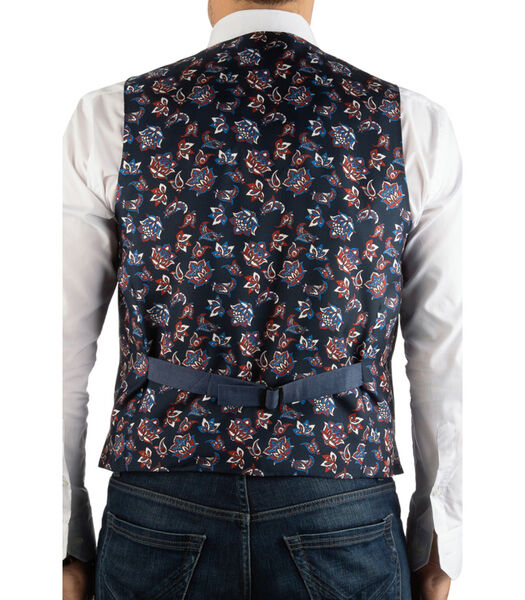 Gilet en coton dos contrasté à fleurs