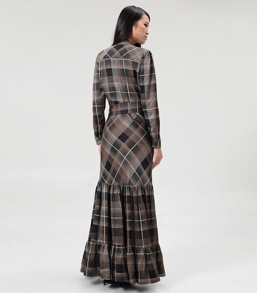 Bohemian stijl maxi jurk met ruches en ruitjesprint