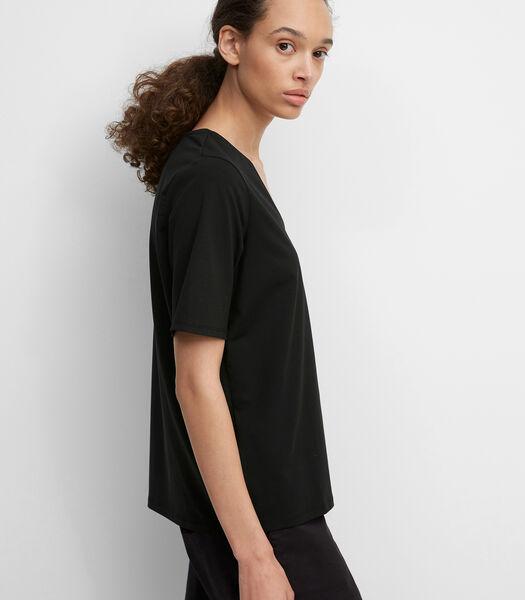 T-shirt met V-hals van elastische single jersey