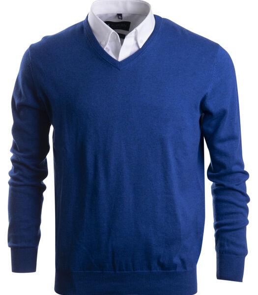 v-hals trui in katoen, blauw