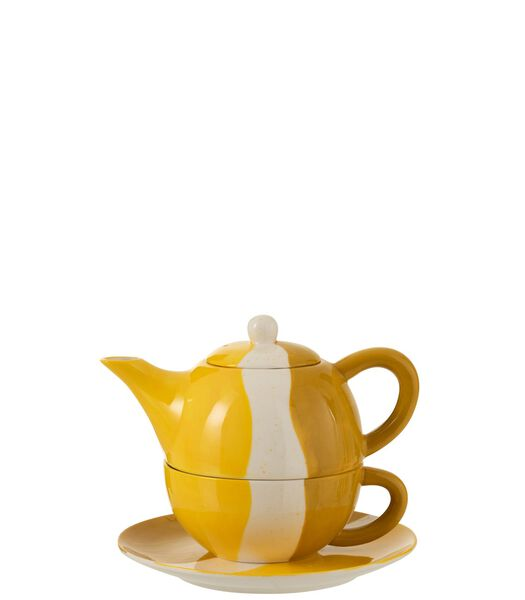 Tea For One Golf Porselein Wit/Oker