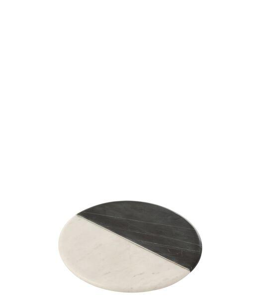 Planche Ronde Marbre Noir/Blanc/Argent