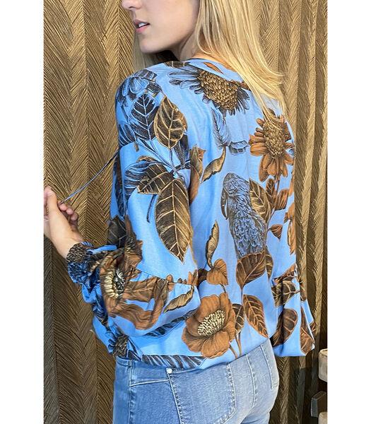 Vlotte bloes met zeer mooie print in bruin/blauw