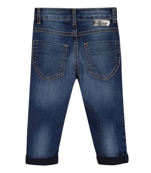 Pantacourt en jean avec badge
