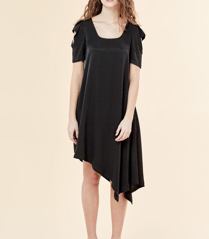 Asymmetrische zwarte jurk VIRGWOOLF in jacquard image number 0