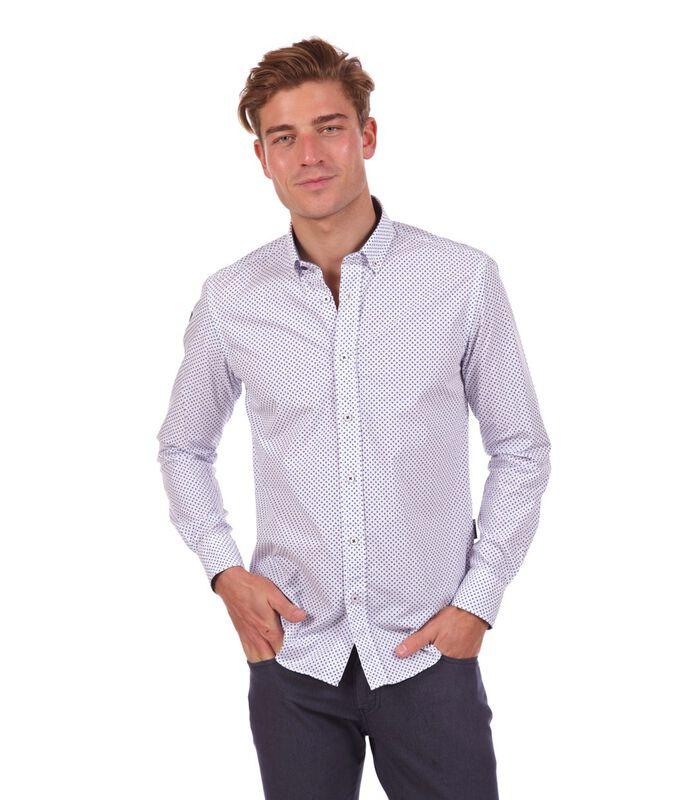 Overhemd in popeline met print wit image number 0