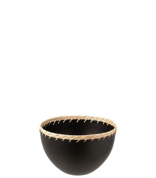 Bol Rond Decoratif Metal/Rotin Noir Large