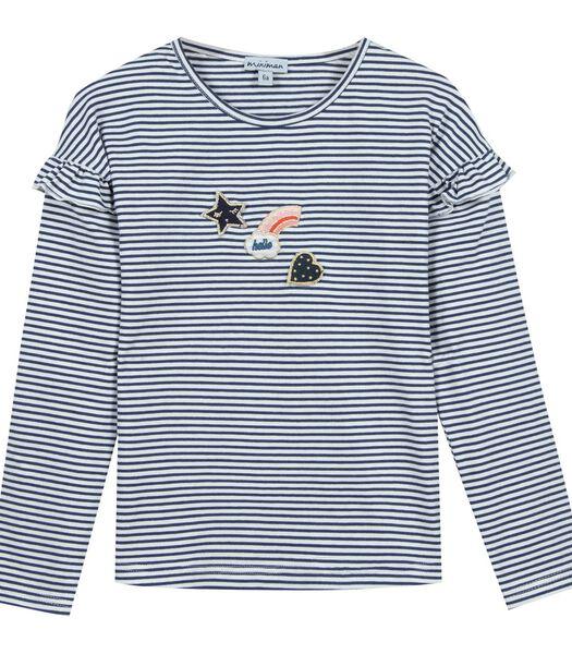 Gestreept t-shirt met lange mouwen en ruches