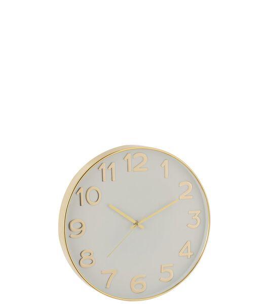 Horloge Chiffres Arabes Plastique Or