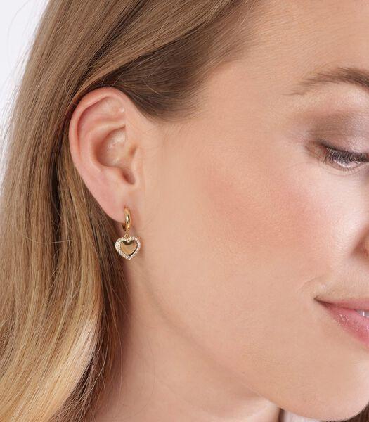 Boucles d'oreilles argent recyclé plaqué or zirconia