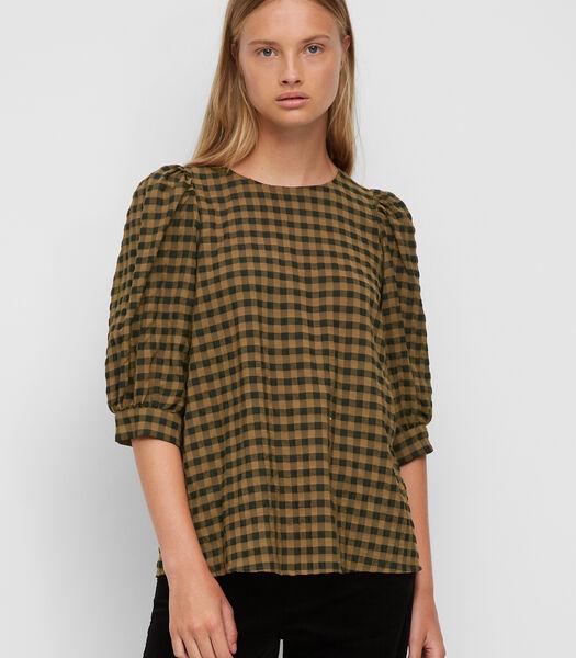 Geruite blouse met pofmouwen van seersucker