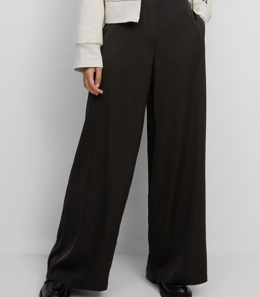Pantalon à jambes larges en satin de viscose extensible