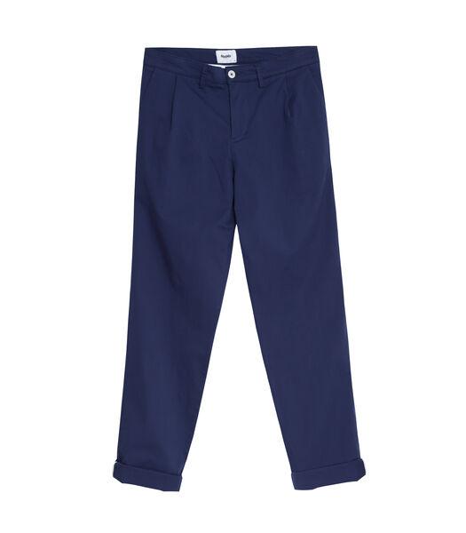 Chino broek met plooien Navy