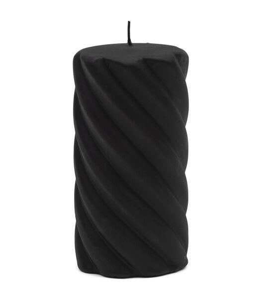 Bougie pilier torsadée noire 8x15