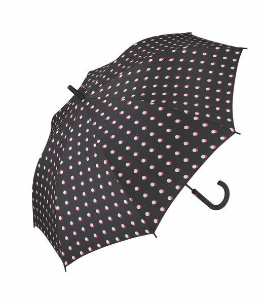 """Paraplu Lang Ac Dame zwart bedrukt  """"Double dot"""""""