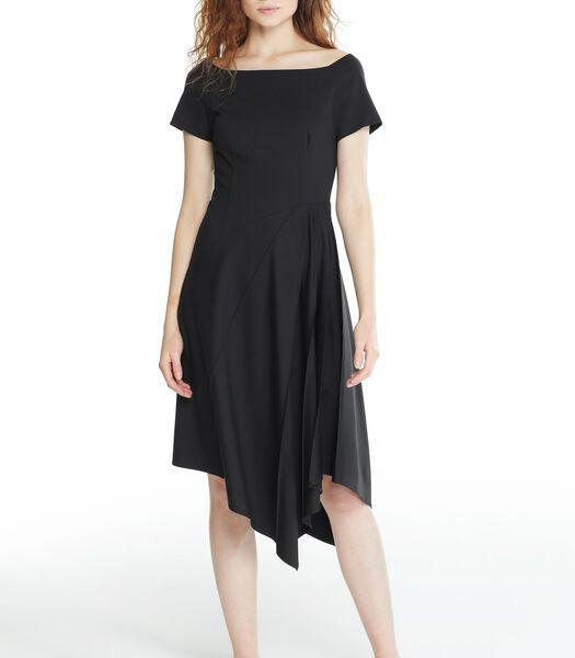 Zwarte asymmetrische jurk gebreid VERVEINE