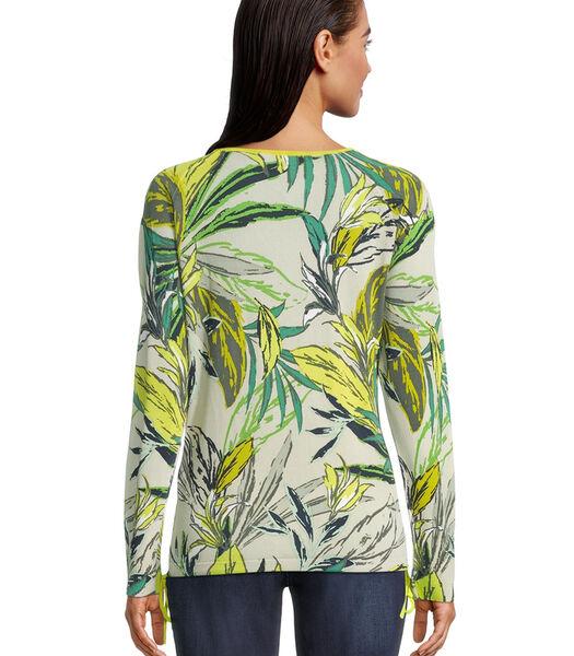 Fijngebreide trui met bloemenprint