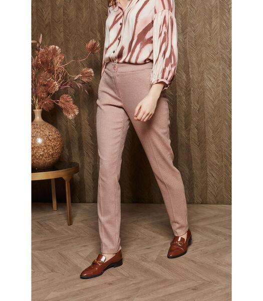 Pantalon en carreaux rose/brun avec des jambes de pantal