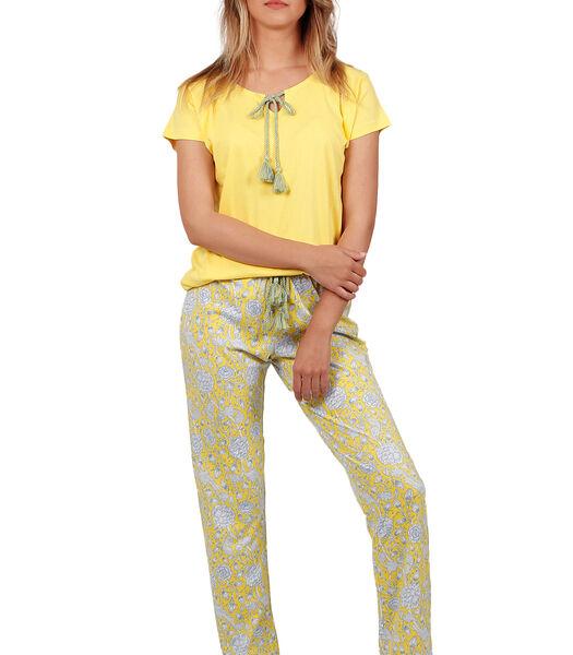 Homewear pyjama broek t-shirt Yellow Hippy geel