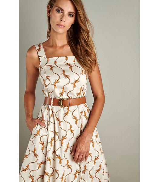 Ecru lange jurk met kettingprint