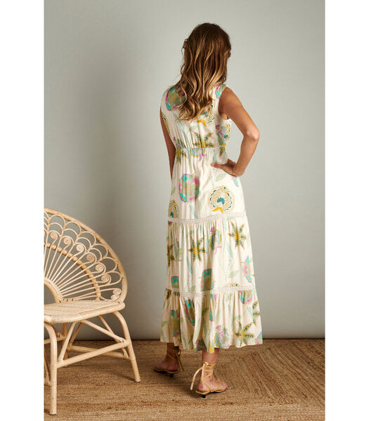 Prachtige maxi jurk met felle kleurtjes