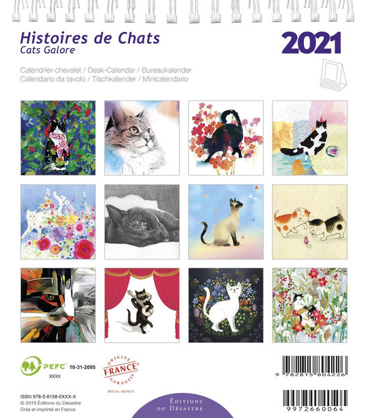 Kalender 14x16 cm Histoire des Chats,