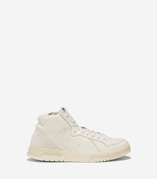 Sneakers montantes en cuir de vachette souple