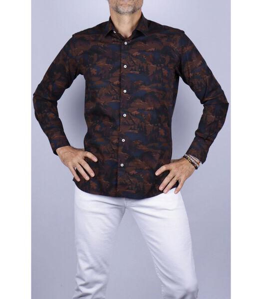 Overhemd katoen franse kraag print