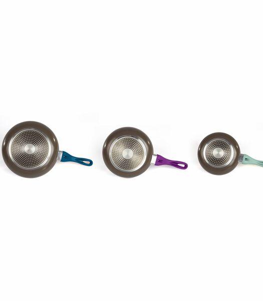Set van 3 pannen met steenlook ILAG