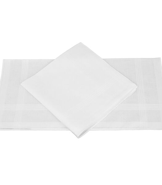 Set van 2 katoenen zakdoeken wit 41x41