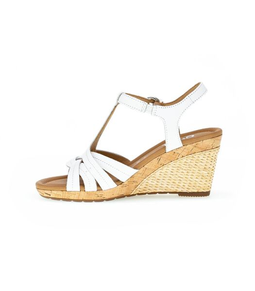 Sandalen leer sleehak wit