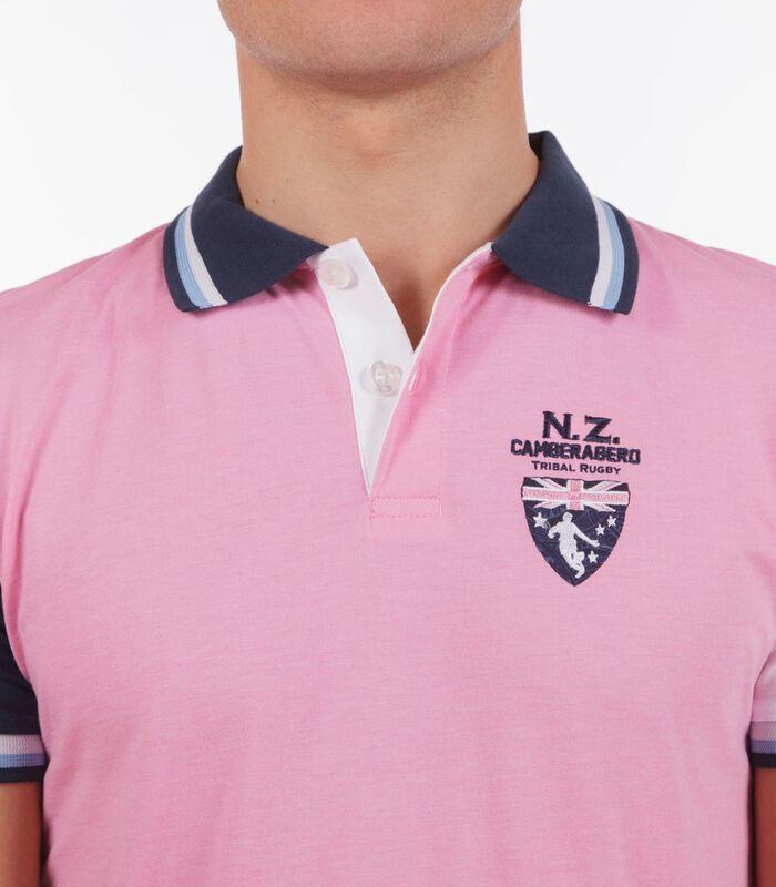 Polo in jersey tweekleurig roze image number 2