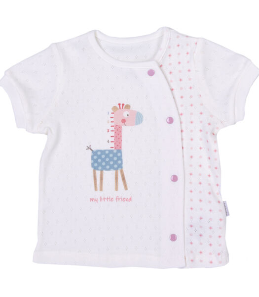 Baby t-shirt en broekje set in biokatoen, Giraffe