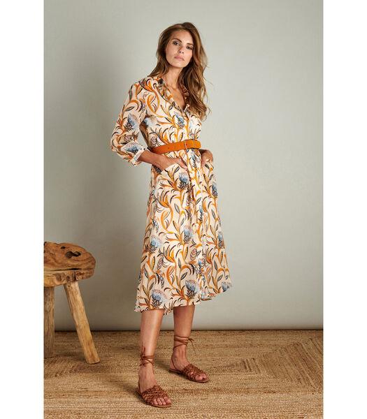 Luchtige maxi dress in een tropische print