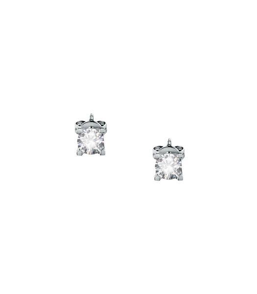Oorbellen in 375 witgoud, ecologische diamant