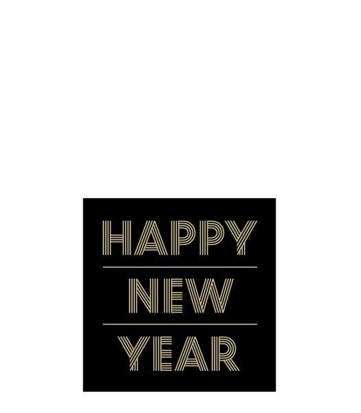 Pak 20 Servetten Happy Newyear Papier Zwart/Goud Small
