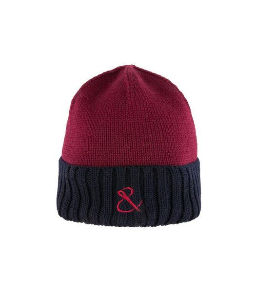 Bonnet côtelé en laine brodé