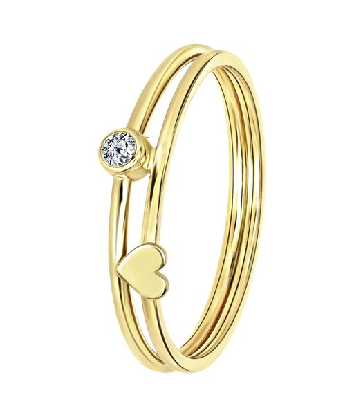 Bague en or 14 carats coeur et rond zrikonia