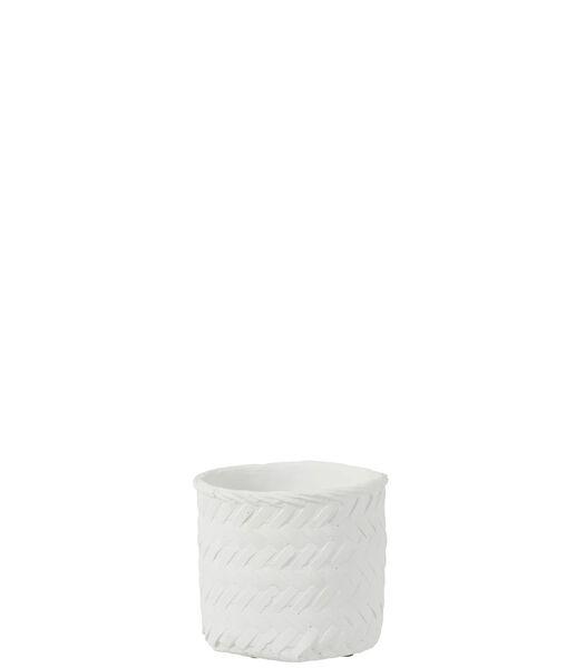Bloempot Immitatie Gewoven Cement Wit Medium