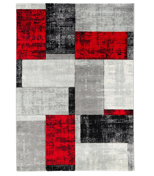 Maui - Tapis Designer Modern - Carreaux Rouge