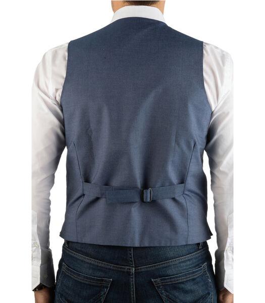 Gilet en tweed à chevrons chiné dos contrasté
