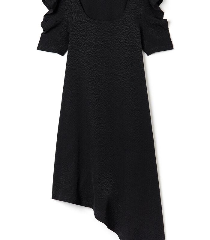 Asymmetrische zwarte jurk VIRGWOOLF in jacquard image number 3