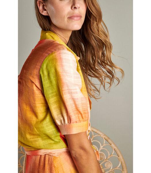 Hip bloesje met korte mouwen in een kleurrijk tie & dye