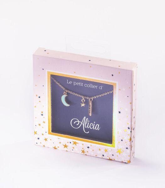 Collier prénom Alicia avec pendentif Lune