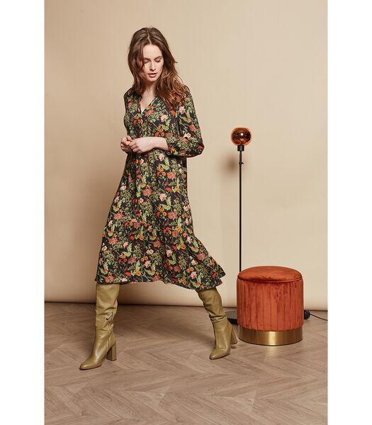 Halflange jurk in een trendy retro print