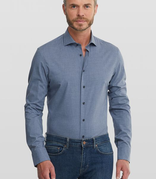 Easy care overhemd met denim look