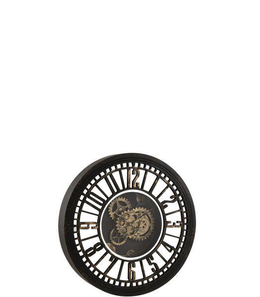 Horloge Ronde Mecanisme Apparent Miroir Antique Noir/Or