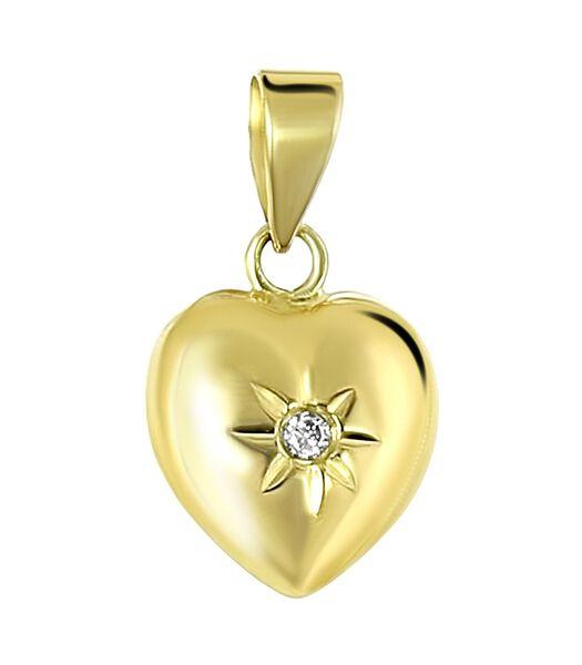 Pendentif en or jaune 14 carats cœur diamant 0,01ct