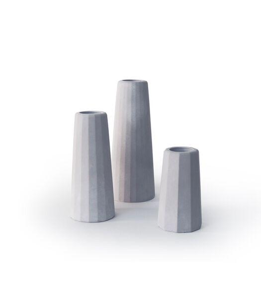 Design vaas soliflore in beton, FACETTE